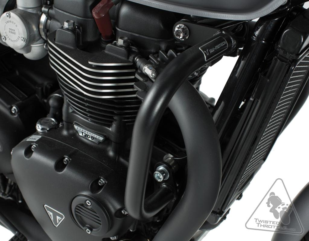 UltraSupplier Motorcycle Accessories Black Chrome Crash Bar Engine Guard Bumper Falling Protector For Triumph Bonneville Bobber Thruxton R Street Cup Twin T100 T120 2017-2020 2018 2019 Black